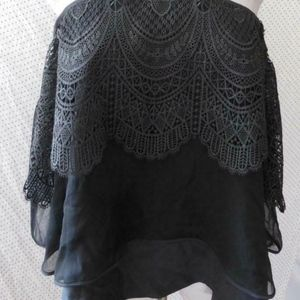 cinq a sept Tops - Cinq à Sept BLACK Lace COLD SHOULDER Silk BLOUSE S